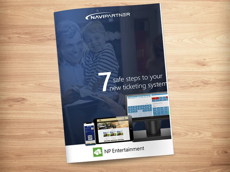 """Frontpage of """"7 secure steps to your new ticket system"""" with green seven"""