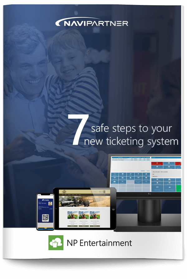 "Frontpage of ""7 secure steps to your new ticket system"" with green seven"