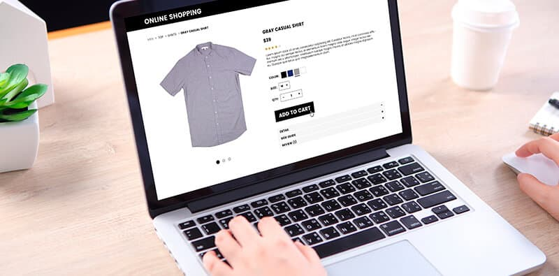 Person looking on shirt on web store