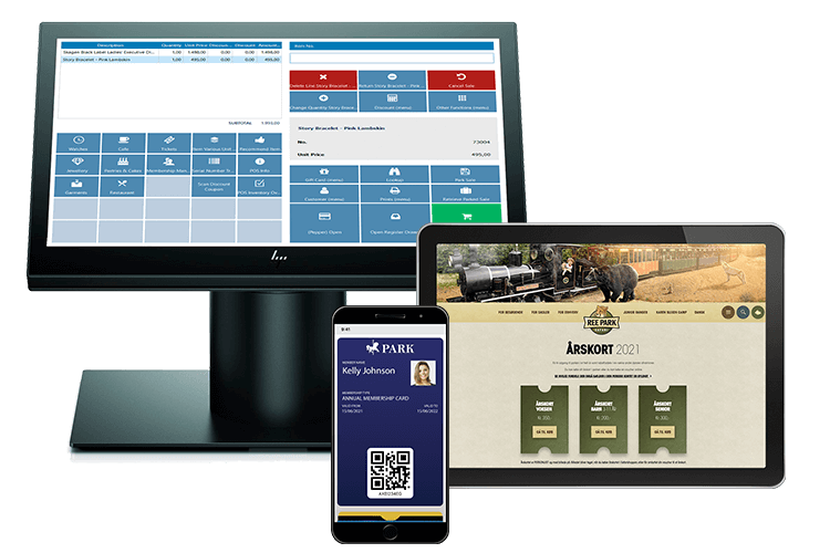 POS, ticketing system, biljettsystem, billettsystem and loyalty wallet shown on digital devices