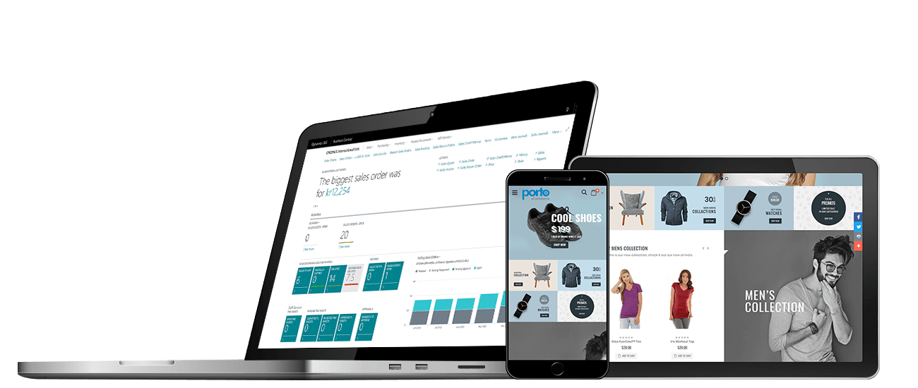 NP Ecommerce and Business Central shown on laptop, smartphone and tablet