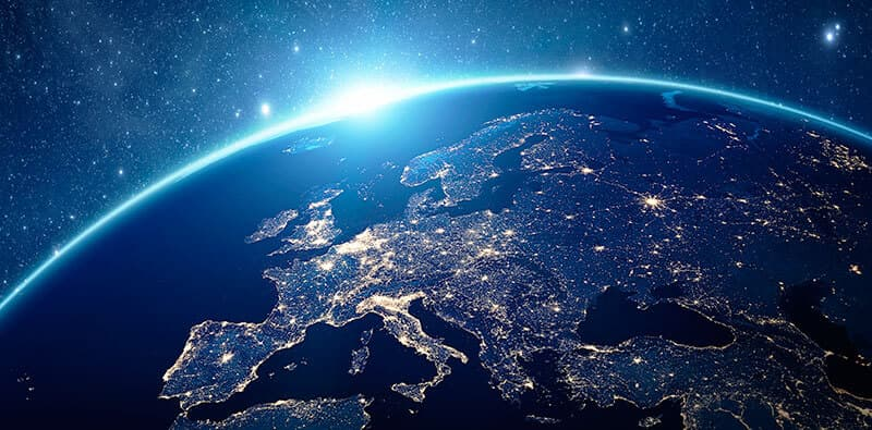 Earth seen from space turned towards Europe