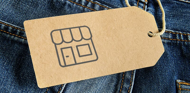 Price tag and pricing on denim