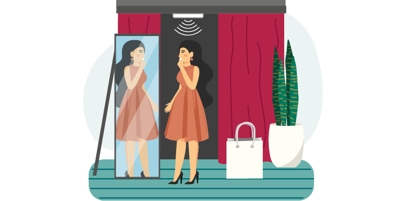 illustration of RFID tagging of items in store